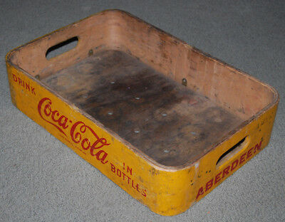Vintage Coca Cola wooden crate rounded corners early 1900's ABERDEEN