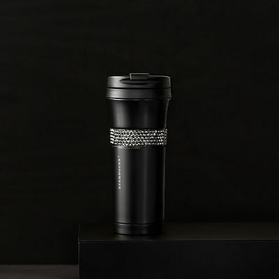 Starbucks Stainless Matte Black Cup Tumbler Swarovski Crystals 16 fl oz NEW