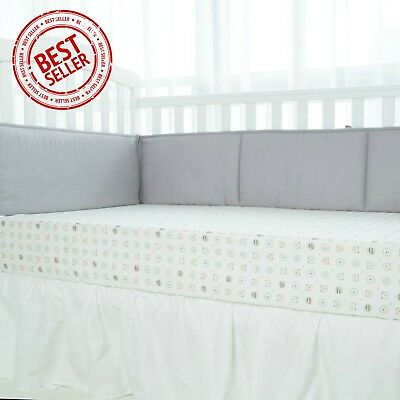 4Pcs Padded Baby Crib Bumper Liner Woven Cotton Breathable Fill-in Microfiber