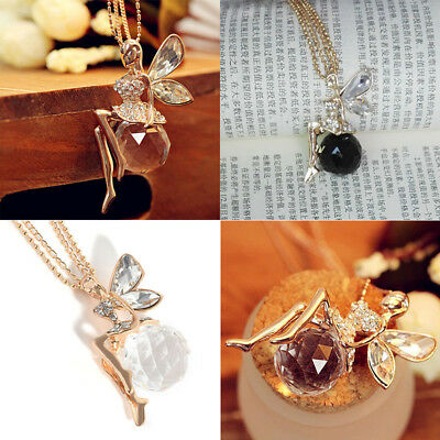 Fashion Women Crystal Fairy Angel Wing Pendant Long Chain Sweater Necklace HOT.