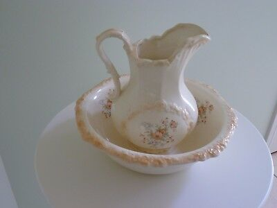 Large ceramic vintage water jug / pitcher and wash bowl / basin set