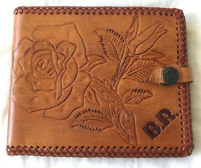 GORGEOUS ORIGINAL VINTAGE LEATHER TOOLED BOHO GYPSY WALLET PURSE FESTIVAL 1970s