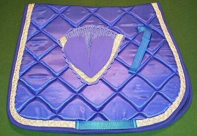 Satin Saddle Pad and matching Bonnet with golden trim. Colour Blue & Golden