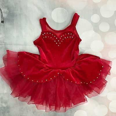 Weissman's Designs For Dance Girls Small Red Glamour Costume Leotard Tutu