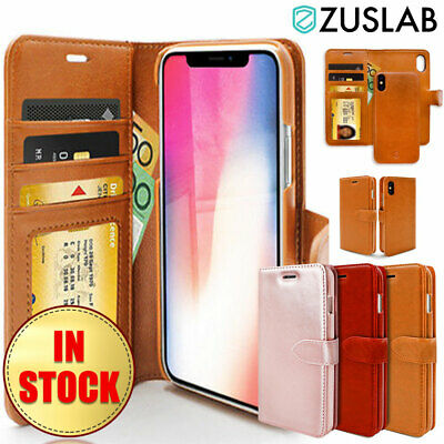 iPhone X XS Case ZUSLAB Detachable Leather Card Slots Wallet Cover for Apple