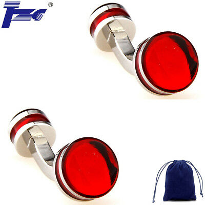 Fashion Cuff Links Double Round Red Enamel Epoxy Shirt Cufflinks With Velvet Bag