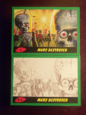 Topps MARS ATTACKS: The Revenge Complete 110 Card GREEN Border Set 1-55 & P1-P55