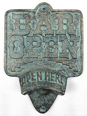 Cast Iron BAR OPEN Bottle Opener Rustic Pistol Wall Mount Open Here Man Cave
