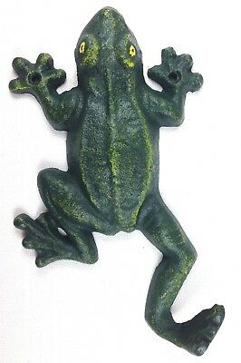 Cast Iron CLIMBING FROG TOAD WALL HOOK Coat Towel Hat Green Sea Plant Garden