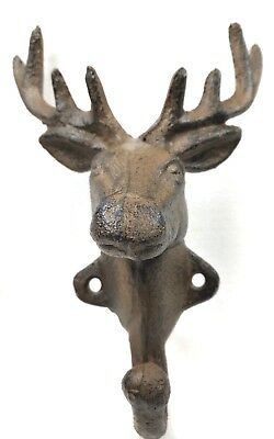 Cast Iron DEER ELK MOOSE Hook Wall Mount Hunters Favorite Rustic Cabin Decor