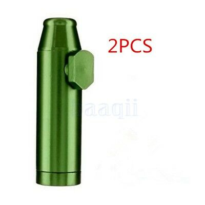 2x Metal Bullet Snuff Dispenser Snorter Rocket Shape Durable Aluminum Nasal MA