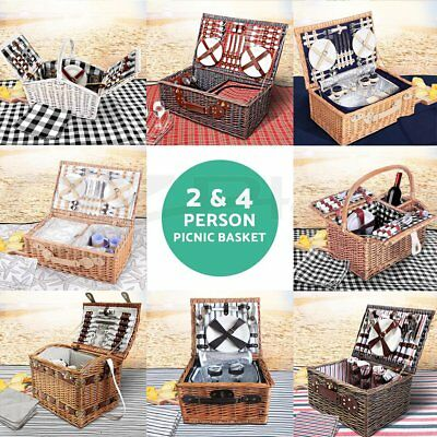2 & 4 Person Wicker Picnic Basket Set w/ Blanket for Outdoor Picnics Beach Trips