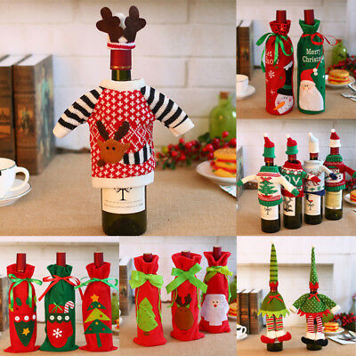Merry Christmas Santa Wine Bottle Bags Cover Xmas Dinner Party Table Decor Gifts