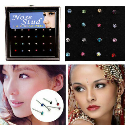 60PCS strass Piercing au nez os Stud acier inoxydable Body Piercing Bon Punk