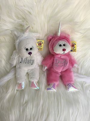 BK420 & BK482 - Misty & Dusty The Unicorn Bear Beanie Kid