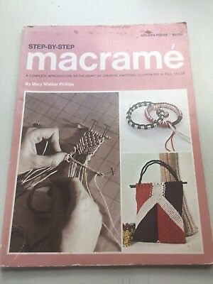 Vintage 70s Macrame book w/ patterns:Step by Step Macrame.Mary Walker Phillips