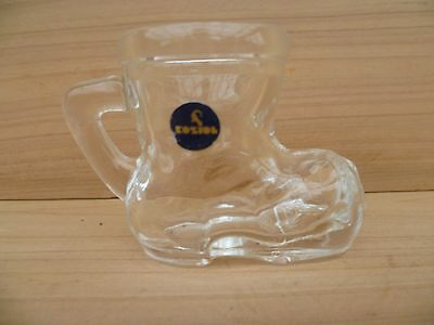 Vintage Old Small Size Glass Boot Shot Glass, (E793)