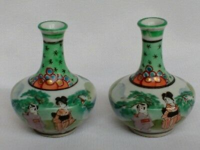 Pair of Japanese miniature porcelain vases Signed Perfect for a doll's house