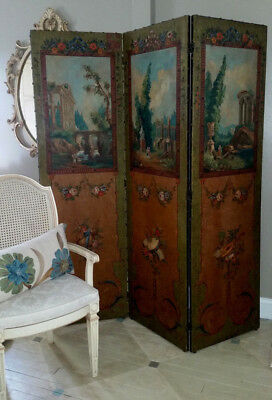 Antique Room Divider Screen Painted Floral European shabby french roses Ferguson