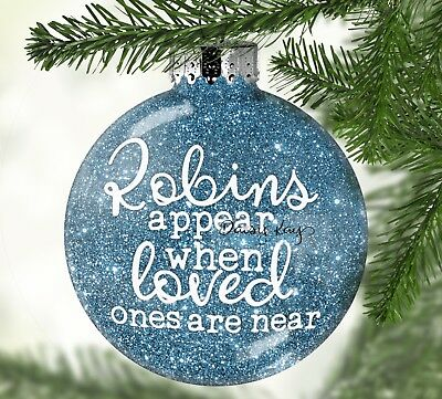 6 x Robins Appear When Loved Ones Are Near Vinyl Decals For Baubles (V157) DIY