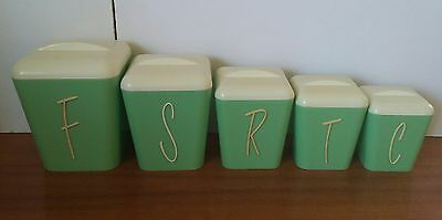 Vintage Retro Rockabilly Gay Ware Green and White Canister Set