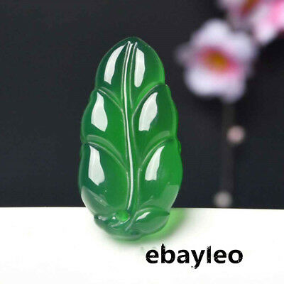 Chinese Exquisite Natural Green Jade Jadeite Carved Leaf Pendant Free Necklace