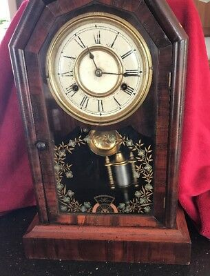 American Walnut Cased Eight Day Mantle Clock 1879