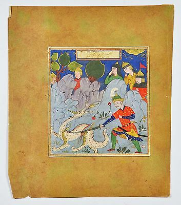 Antique Safavid Shahnameh Islamic Persian Miniature Painting Manuscript