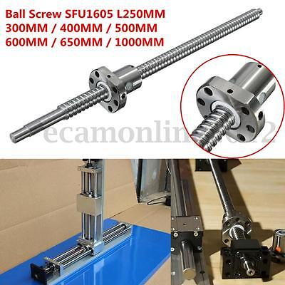 C7/SFU1605 L250/300/400/500/600/650/1000MM Ball Screw w/ Single Ballnut For CNC