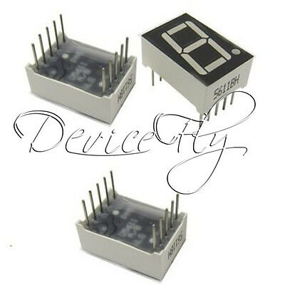 "2PCS 7 segment 0.56"" 1 Digit Common Cathode Blue Led Display Digital Tube 10pins"