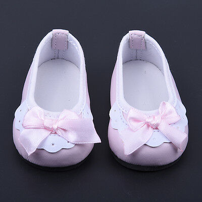 For 18 Inch Girl Doll Kids Toys Gift Handmade Pink Lace Bowknot Leather Shoes.