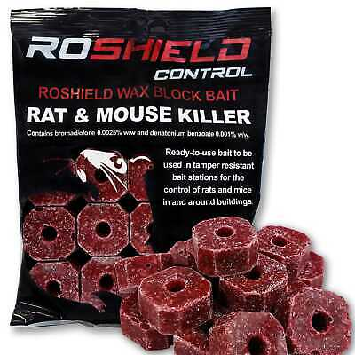 Roshield Pro Block Bait Rat & Mouse Vermin Killer Rodent Poison - Control Pack