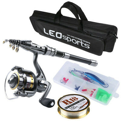 Telescopic Fishing Rod and Reel Combos Kit with Fishing Line Lures Hooks Bag