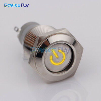 16mm 5pin 12V Led Metal Car Power On/OFF Push Button Angel Eye Latching Switch