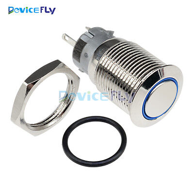 12V 16mm Car Silver Aluminum LED Power Push Button Switch Metal ON/OFF Latching