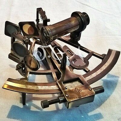 Heavy Brass Nautical Sextant Henery Barrow & CO. London Antique