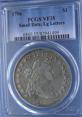 *beautiful 1796 Draped Bust Dollar Small Date, Lg Letters- Vf-35 Pcgs*