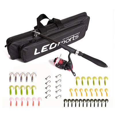 1.3/1.6m Fishing Spinning Rod & Reel Combo with Soft Fishing Lures Hooks Bag