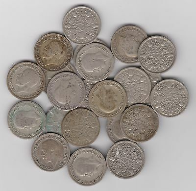 SILVER Sixpence - England (UK) .500 Silver 1928 through 1930s   Wedding 6Pence