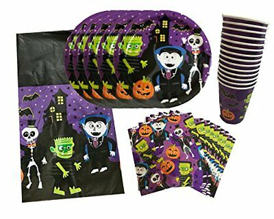 Halloween Party Pack Set,4Piece Dinner Plates,Napkins,Cups,Tablecloth,Serves14
