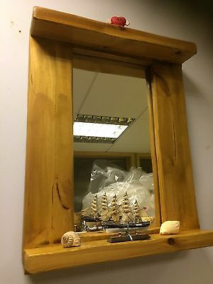 Light OAK Reclaimed Wood Solid Vintage antique handmade Mirror With Shelf Heavy