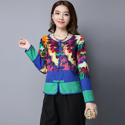 New Traditional Printed Long Sleeves Linen&Cotton Chinese Women's Coat/Jacket