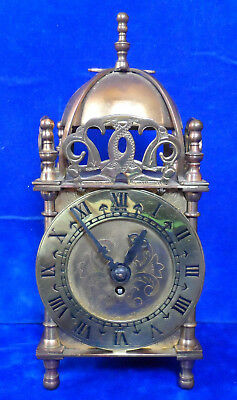 Vintage Smiths 8 Day Brass Lantern Clock Nell Gwynne - Key Wound - Fully Working