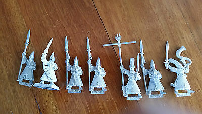 Warhammer Citadel 7 High Elf Warriors lot OOP metal
