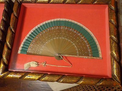 Vintage Mother Of Pearl And Lace Hand Fan Framed