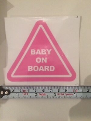 PINK. BABY ON BOARD decal sticker safety sign for car,4x4,SUV window panel.