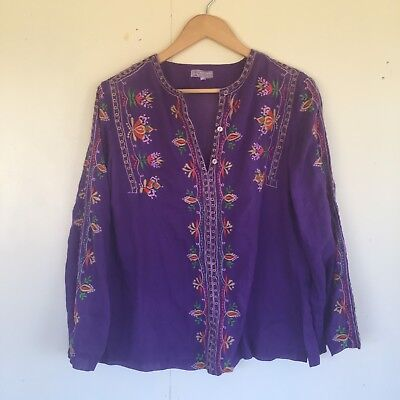 Rare Vintage 70's Purple Indian Hand Embroided Kaftan Top 'Tesoro's' S/M