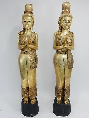 Pair of Thai Gilt Wood Sawasdee Lady Statues  65  inches