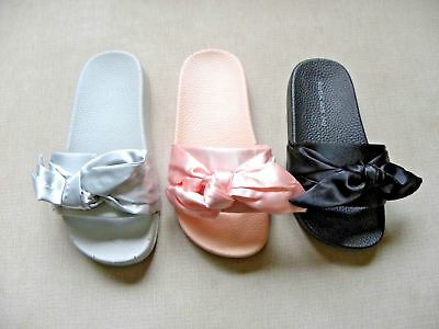 Children Girls Slip On Rubber Slidders Mules Satin Bow Slipper Flip Flop Sandal