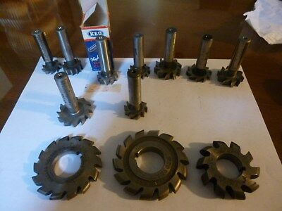 Lot Of 12 Different Sized Machinist T Slot And Radius Cutters